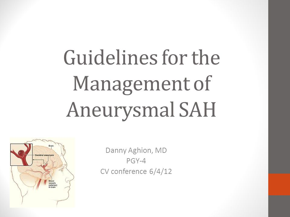 Management of Vasospasm and DCI after aSAH: Recommendations Oral Nimodipine should be given to all aSAH (improves OUTCOME, not vasospasm) (Class I; Level of Evidence A) Maintenance of Euvolemia is recommended to prevent DCI (Revised, Class I; Level of Evidence B) Prophylactic hypervolemia or balloon angioplasty before development of angiographic spasm is NOT recommended (NEW; Class III, Level of Evidence B) TCD's reasonable to monitor for VS (NEW; Class IIa; LOE B) CT or MR perfusion can be useful to id regions of potential brain ischemia (NEW; Class IIa; Level of Evidence B) Induced HTN is recommended for pt's w/ DCI unless baseline elevated BP or cardiac status precludes it (Revised; Class I; Level of Evidence B) Angioplasty or IA dilator is reasonable in symptomatic vasospasm, particularly those not responding to HTN therapy (Revised; Class IIa; Level of Evidence B)