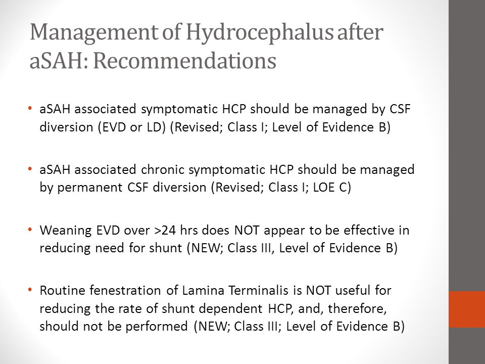Management of Hydrocephalus after aSAH: Recommendations aSAH associated symptomatic HCP should be managed by CSF diversion (EVD or LD) (Revised; Class