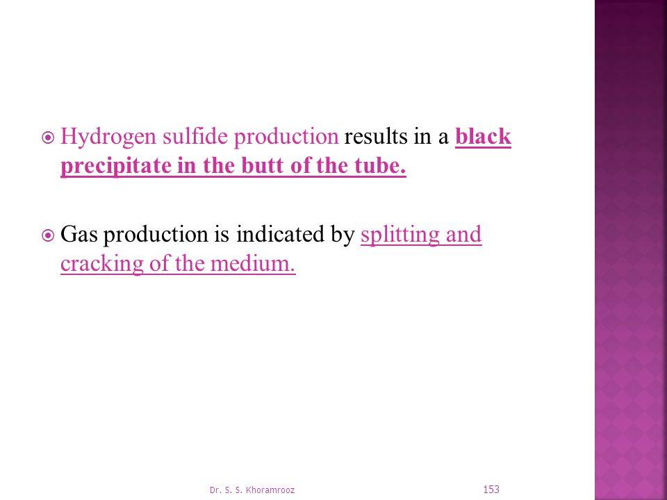  Hydrogen sulfide production results in a black precipitate in the butt of the tube.