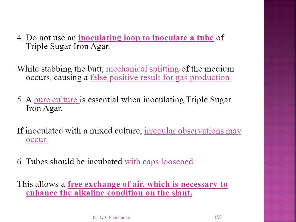 4.Do not use an inoculating loop to inoculate a tube of Triple Sugar Iron Agar.