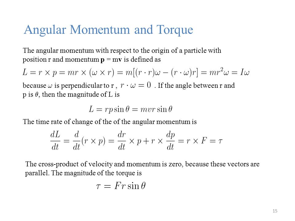 The angular momentum with respect to the origin of a particle with position r and momentum p = mv is defined as because .