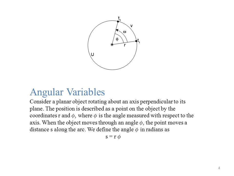 Angular Variables Consider a planar object rotating about an axis perpendicular to its plane.
