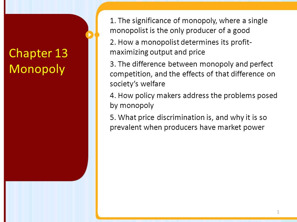 1.The significance of monopoly, where a single monopolist is the only producer of a good 2.