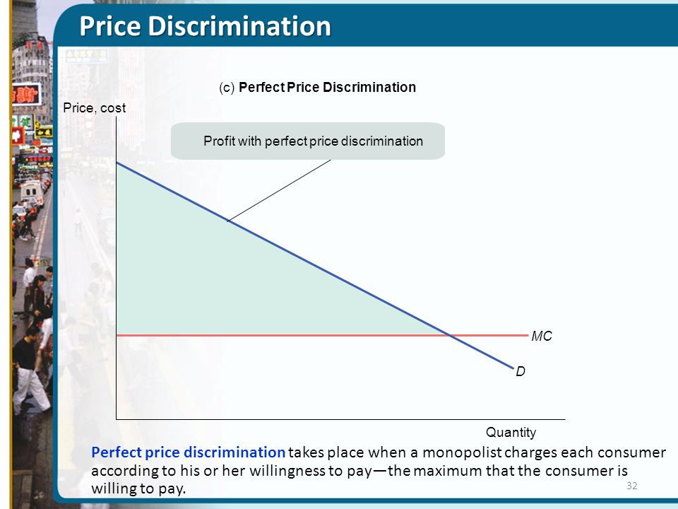 Price Discrimination Quantity MC D Profit with perfect price discrimination (c)Perfect Price Discrimination Price, cost Perfect price discrimination takes place when a monopolist charges each consumer according to his or her willingness to pay—the maximum that the consumer is willing to pay.