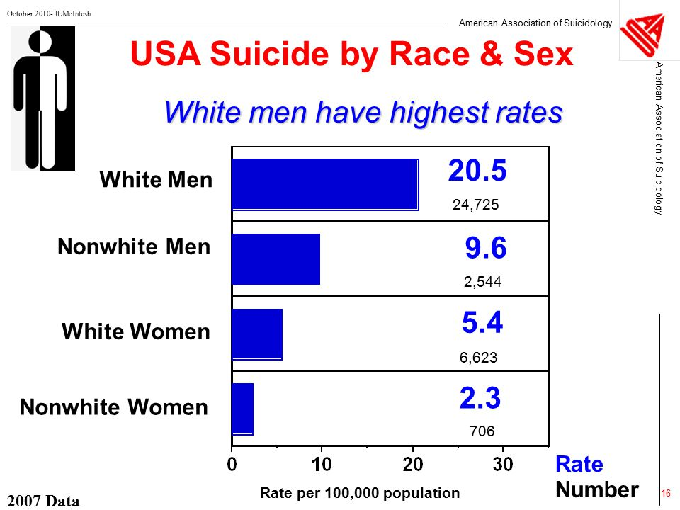 American Association of Suicidology October 2010- JLMcIntosh 2007 Data 16 USA Suicide by Race & Sex White men have highest rates Rate Number Rate per 100,000 population White Men Nonwhite Men White Women Nonwhite Women 20.5 9.6 5.4 2.3 24,725 2,544 6,623 706