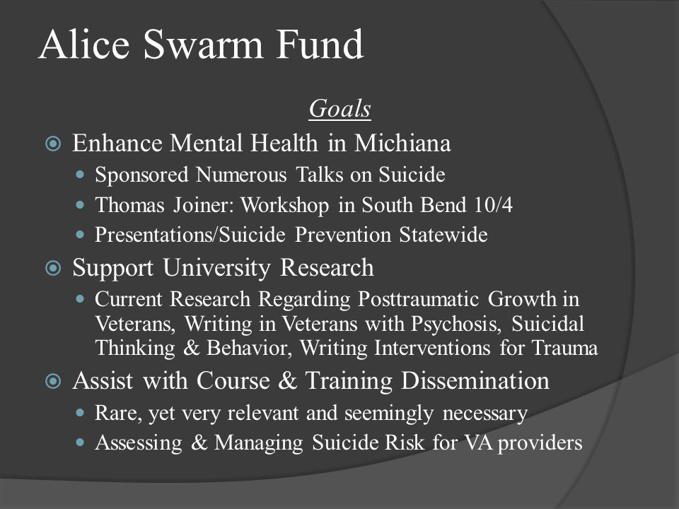 Background  Trained at 3 VA hospitals  Created manualized writing treatment for PTSD in VA setting  Experience in group & individual psychotherapy with veterans  Specialize in trauma (PTSD) & suicide