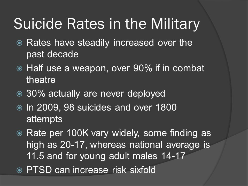 Suicide Rates in the Military  Rates have steadily increased over the past decade  Half use a weapon, over 90% if in combat theatre  30% actually are never deployed  In 2009, 98 suicides and over 1800 attempts  Rate per 100K vary widely, some finding as high as 20-17, whereas national average is 11.5 and for young adult males 14-17  PTSD can increase risk sixfold