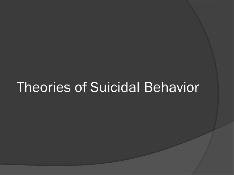 Theories of Suicidal Behavior