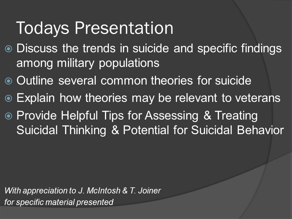  The one transcendent factor that we seem to have, if there s any one that s associated with [suicide], is fractured relationships of some sort, Lieut.