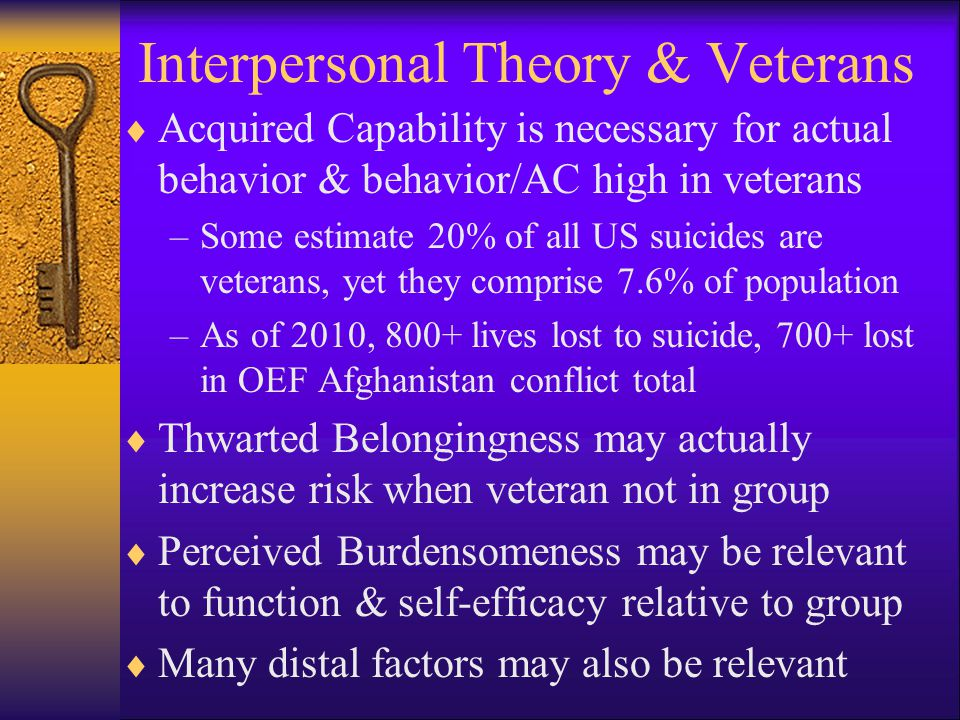 Interpersonal Theory & Veterans  Acquired Capability is necessary for actual behavior & behavior/AC high in veterans –Some estimate 20% of all US suicides are veterans, yet they comprise 7.6% of population –As of 2010, 800+ lives lost to suicide, 700+ lost in OEF Afghanistan conflict total  Thwarted Belongingness may actually increase risk when veteran not in group  Perceived Burdensomeness may be relevant to function & self-efficacy relative to group  Many distal factors may also be relevant