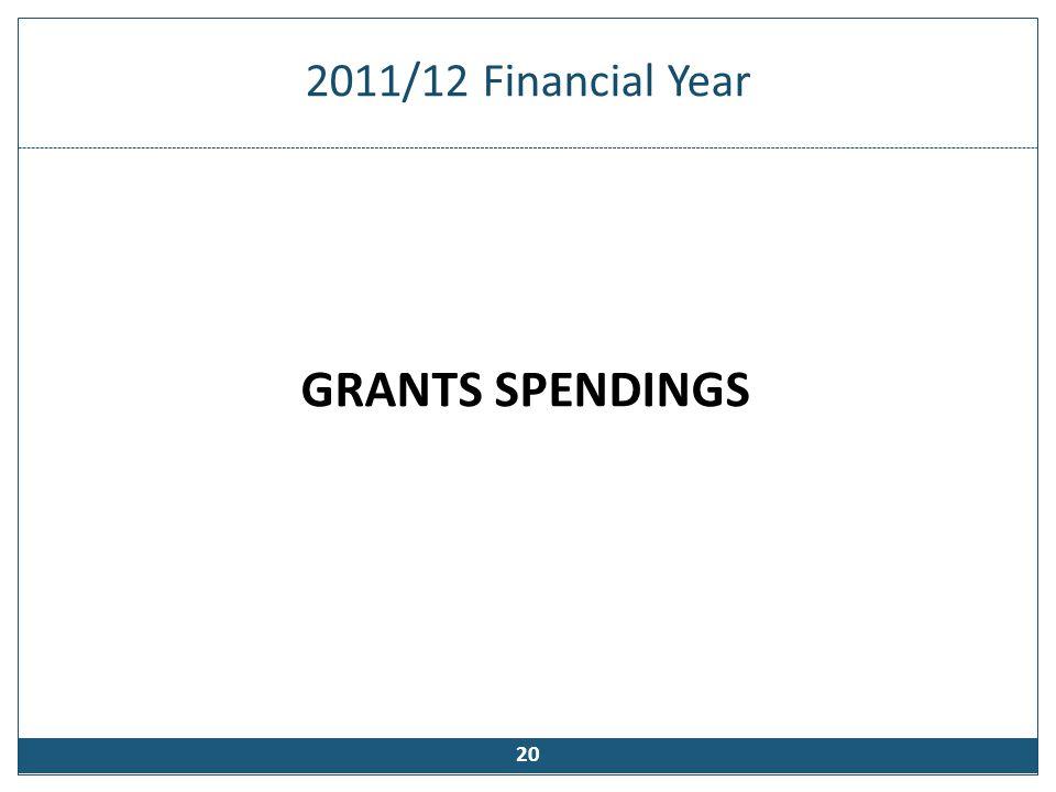 2011/12 Financial Year GRANTS SPENDINGS 20