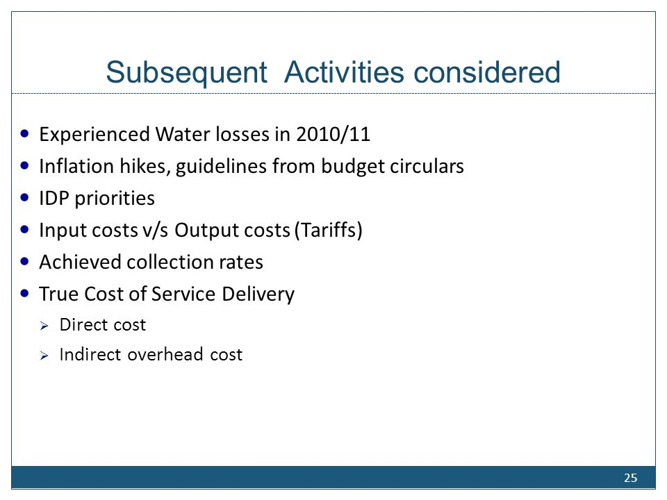 Subsequent Activities considered Experienced Water losses in 2010/11 Inflation hikes, guidelines from budget circulars IDP priorities Input costs v/s
