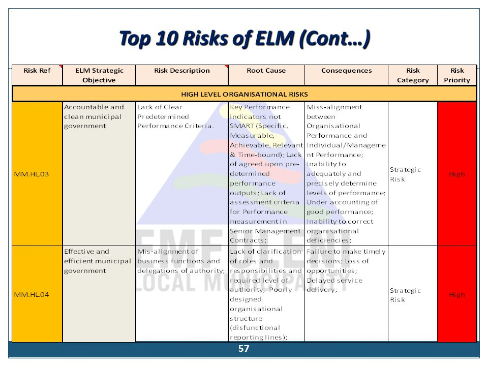 Top 10 Risks of ELM (Cont…) 57