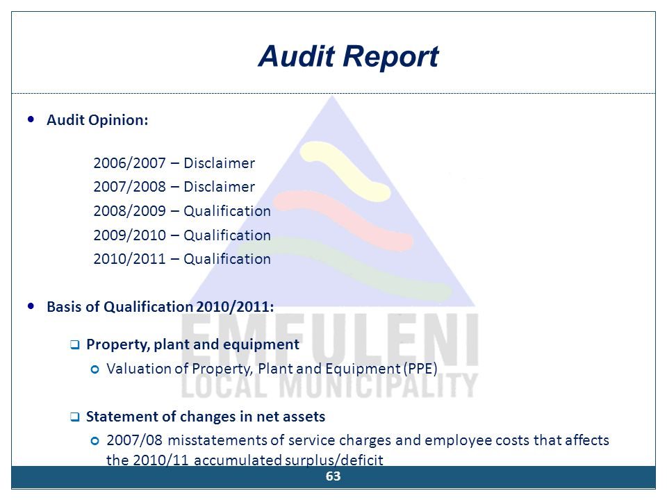 Audit Report Audit Opinion: 2006/2007 – Disclaimer 2007/2008 – Disclaimer 2008/2009 – Qualification 2009/2010 – Qualification 2010/2011 – Qualificatio