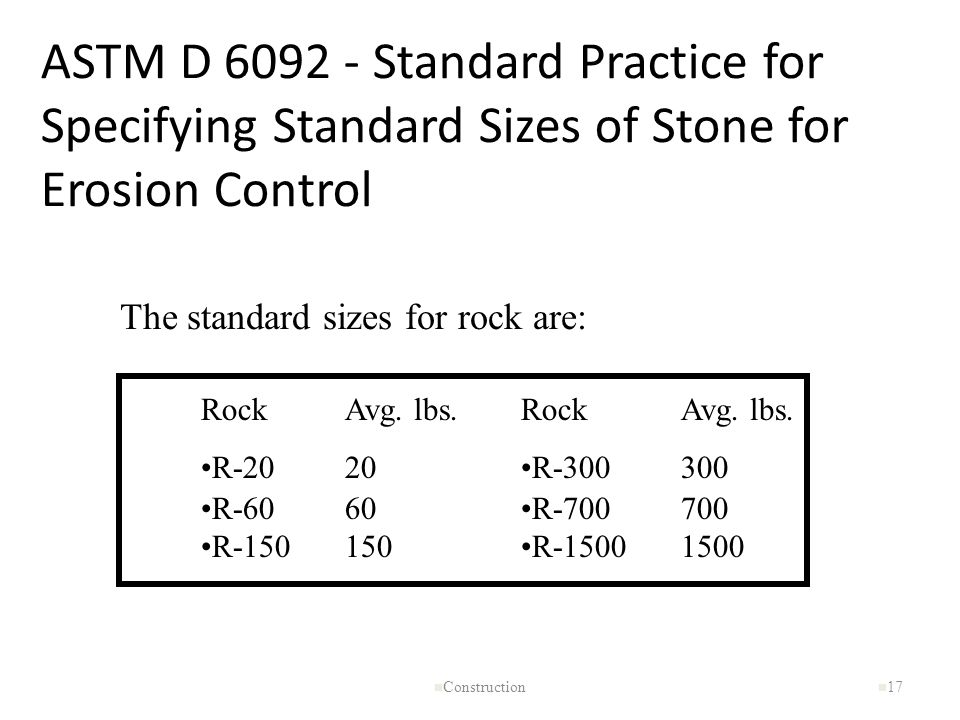 ASTM D 6092 - Standard Practice for Specifying Standard Sizes of Stone for Erosion Control n Construction n 17 The standard sizes for rock are: Rock R