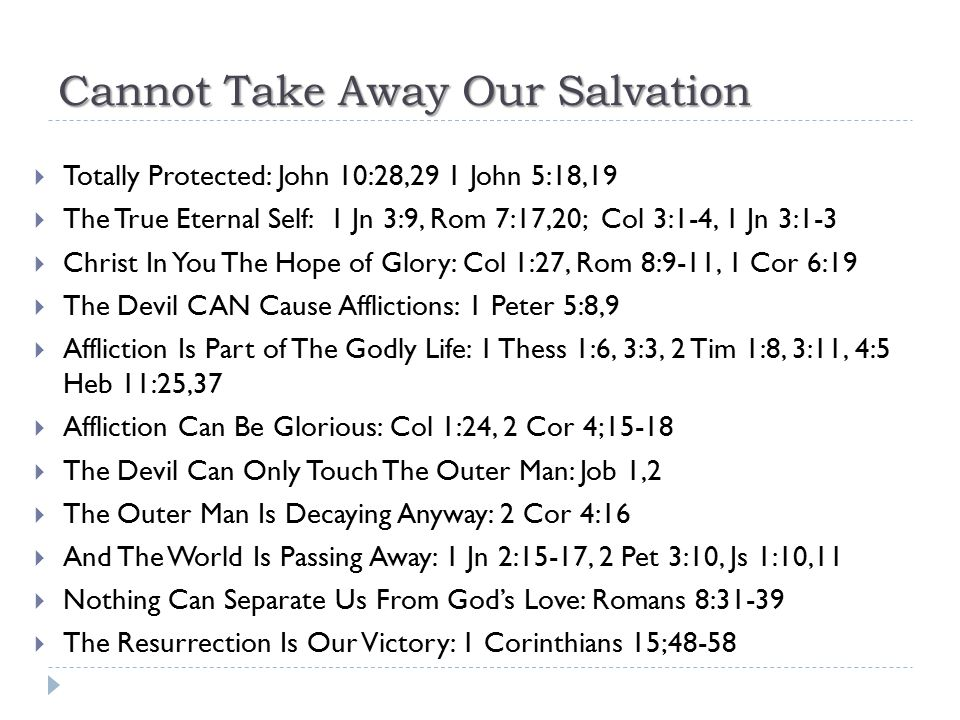Cannot Take Away Our Salvation  Totally Protected: John 10:28,29 1 John 5:18,19  The True Eternal Self: 1 Jn 3:9, Rom 7:17,20; Col 3:1-4, 1 Jn 3:1-3
