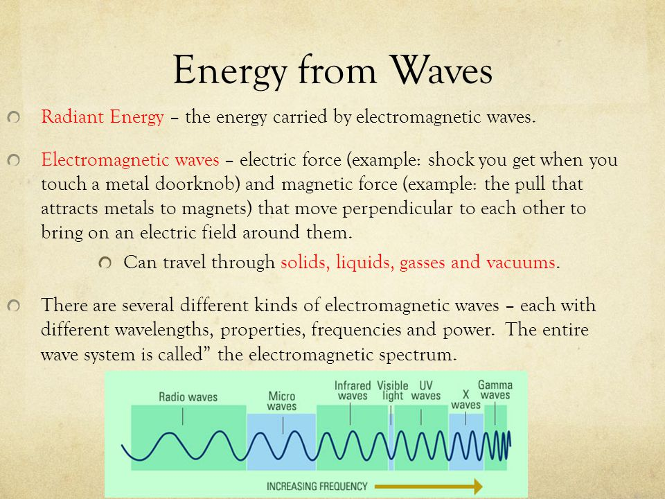 Energy from Waves Radiant Energy – the energy carried by electromagnetic waves. Electromagnetic waves – electric force (example: shock you get when yo