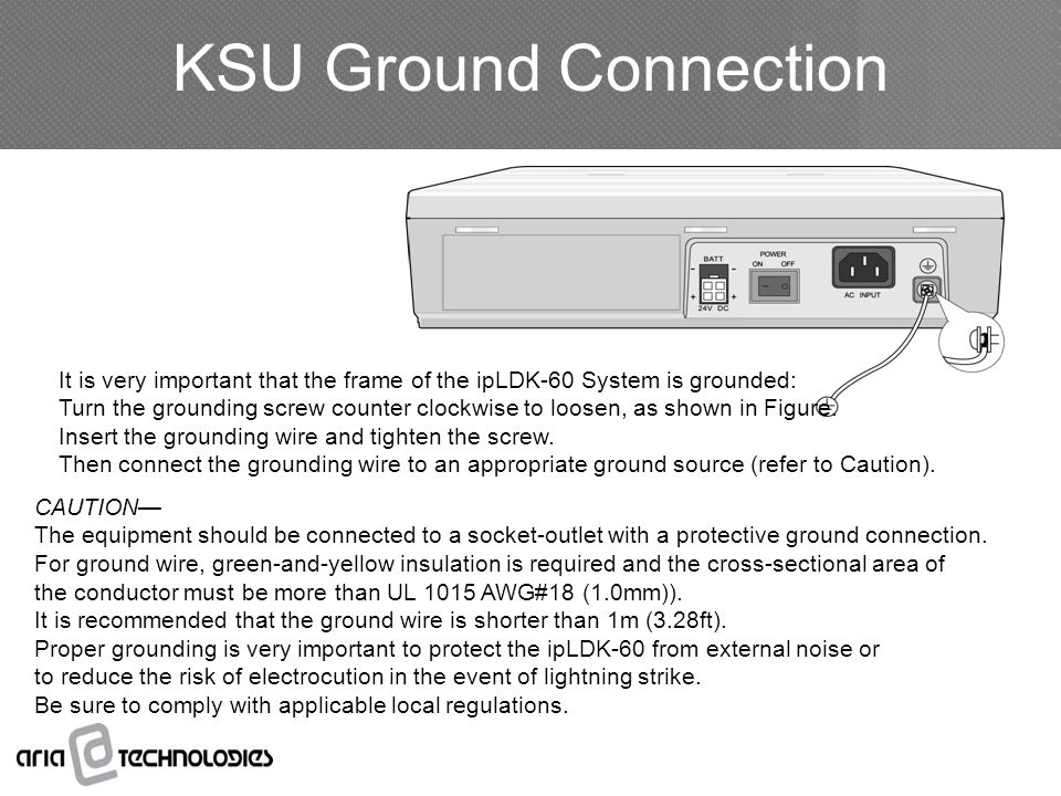KSU Ground Connection It is very important that the frame of the ipLDK-60 System is grounded: Turn the grounding screw counter clockwise to loosen, as shown in Figure.