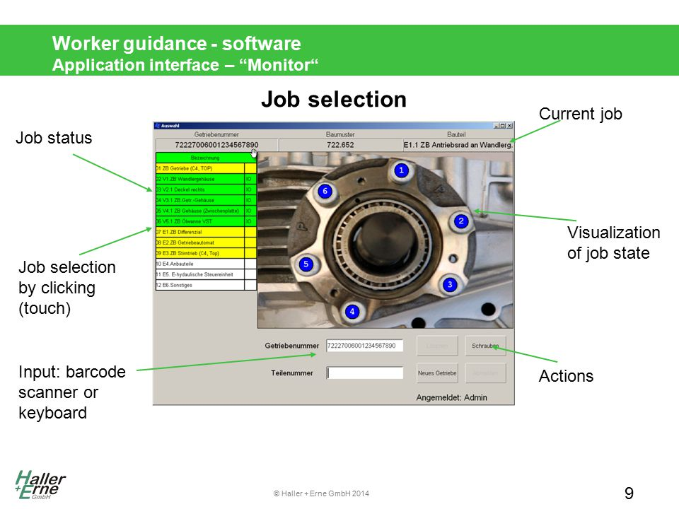 © Haller + Erne GmbH 2014 Worker guidance - software Application interface – Monitor Tightening Job 10 tightening results Job Current tool actions Pre-tightening (dark green), final tightening (light green) Tightening status (green: OK, red: NOK, yellow: next position) result of last rundown click/touch: loosen, delete, skip