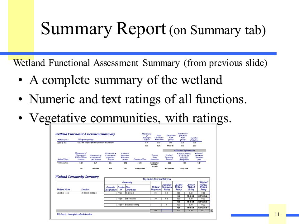 11 Summary Report (on Summary tab) A complete summary of the wetland Numeric and text ratings of all functions. Vegetative communities, with ratings.