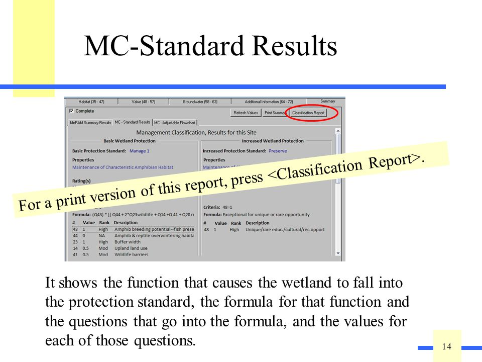 14 MC-Standard Results This is a report meant for on-screen viewing. You can check to see how the site would be classified if you use the Basic or Inc