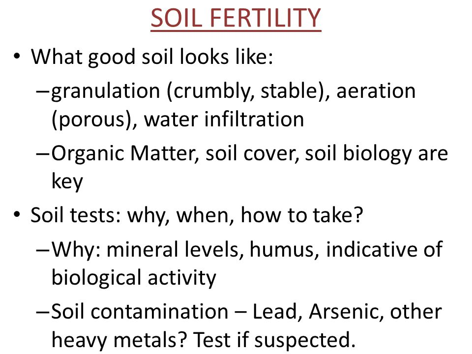 SOIL FERTILITY What good soil looks like: – granulation (crumbly, stable), aeration (porous), water infiltration – Organic Matter, soil cover, soil biology are key Soil tests: why, when, how to take.