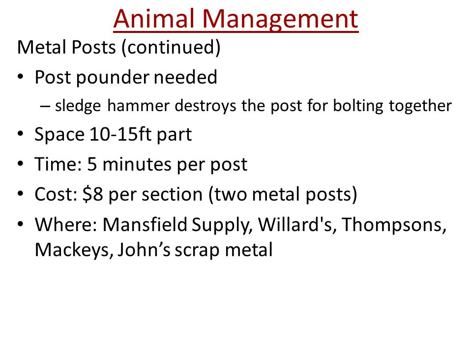 Animal Management Metal Posts (continued) Post pounder needed – sledge hammer destroys the post for bolting together Space 10-15ft part Time: 5 minutes per post Cost: $8 per section (two metal posts) Where: Mansfield Supply, Willard s, Thompsons, Mackeys, John's scrap metal