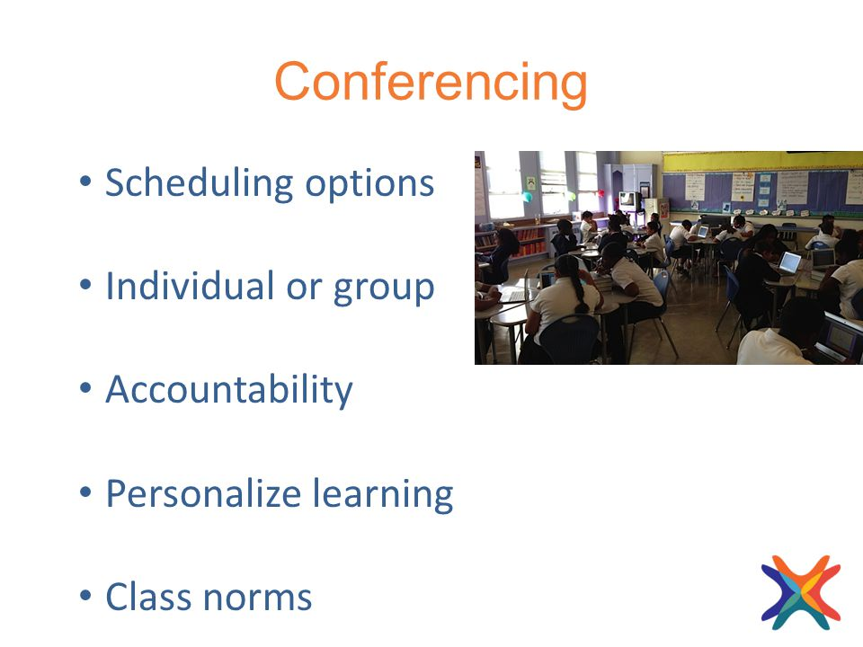 Conferencing Scheduling options Individual or group Accountability Personalize learning Class norms