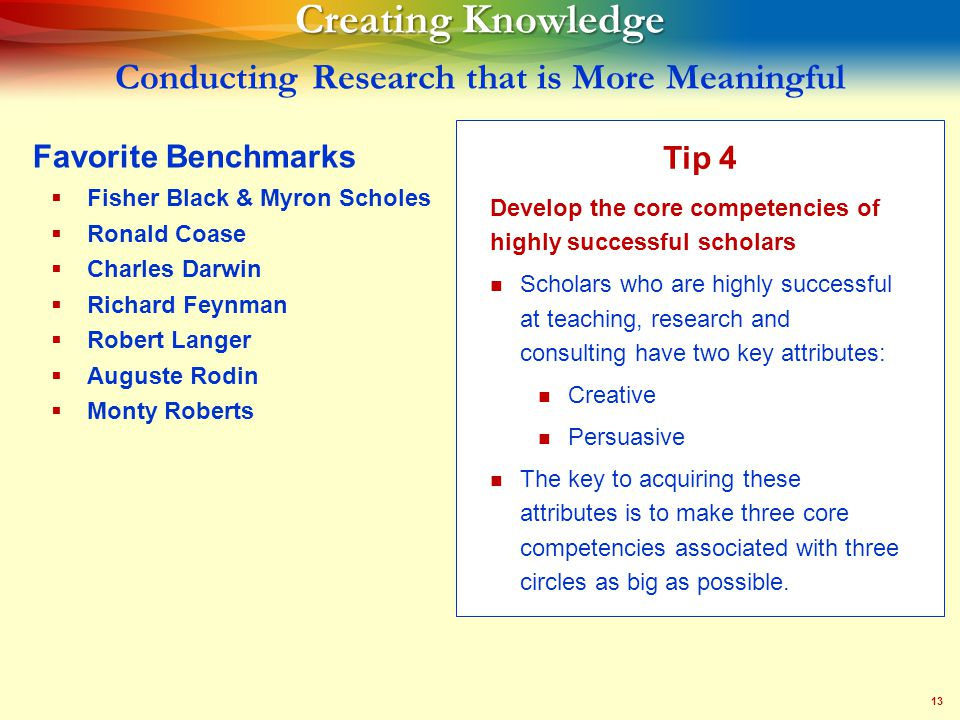 13 Creating Knowledge Creating Knowledge Conducting Research that is More Meaningful Tip 4 Develop the core competencies of highly successful scholars Scholars who are highly successful at teaching, research and consulting have two key attributes: Creative Persuasive The key to acquiring these attributes is to make three core competencies associated with three circles as big as possible.