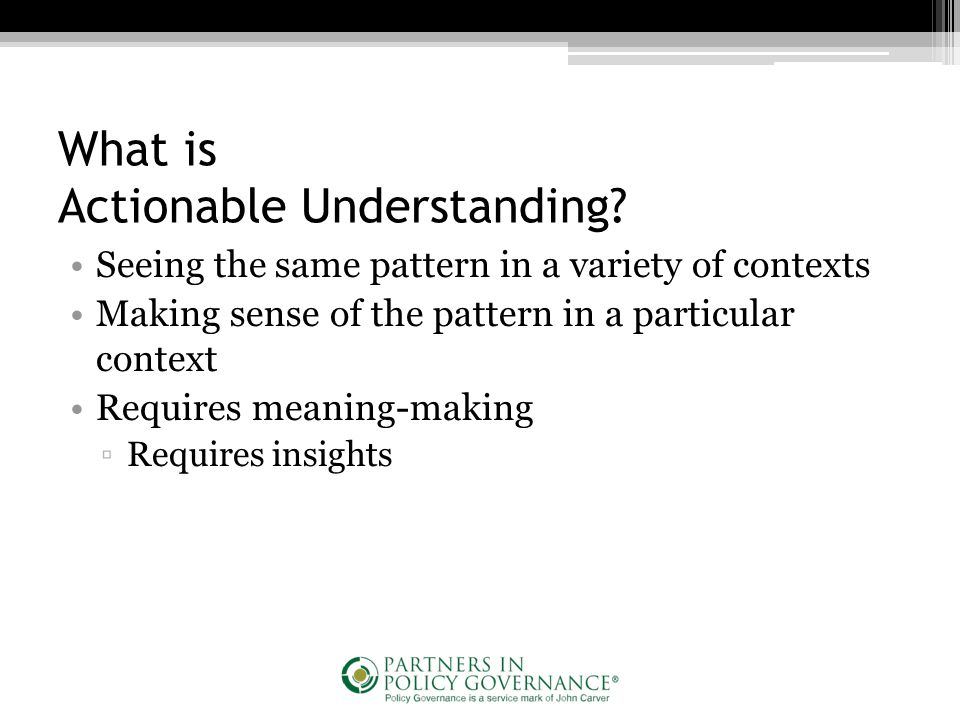 What is Actionable Understanding.