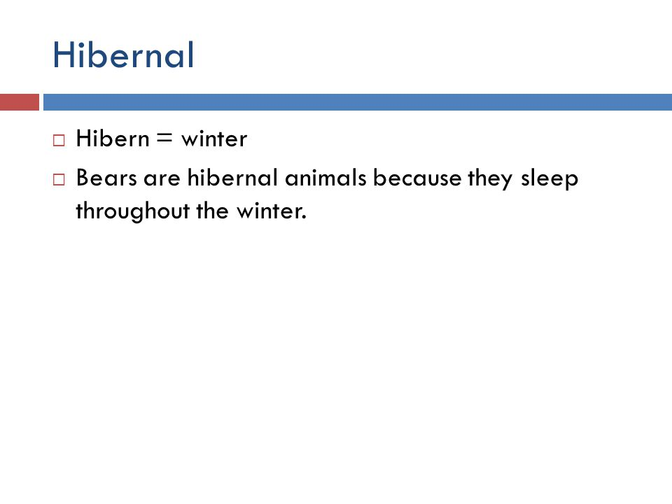 Hibernal  Hibern = winter  Bears are hibernal animals because they sleep throughout the winter.