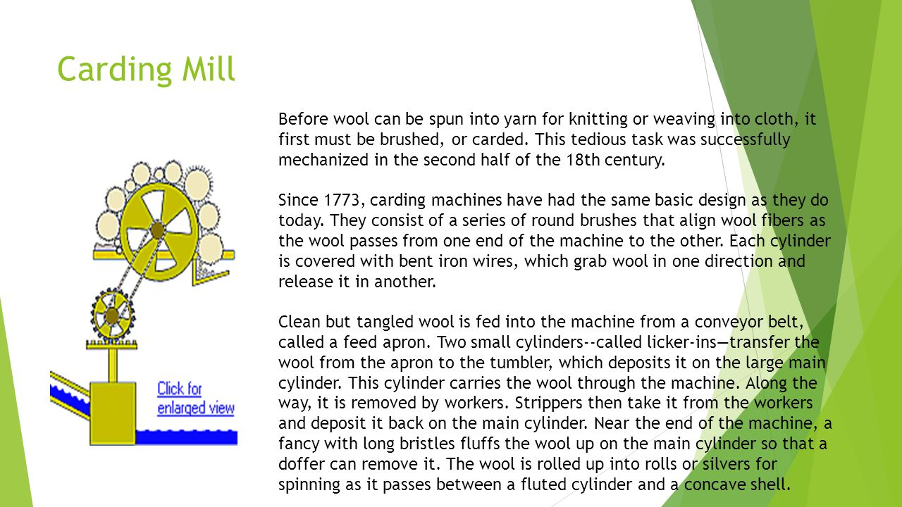 Carding Mill Before wool can be spun into yarn for knitting or weaving into cloth, it first must be brushed, or carded.