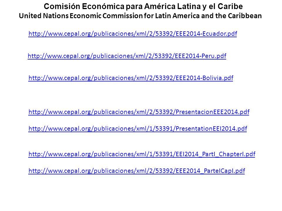http://www.cepal.org/publicaciones/xml/2/53392/EEE2014-Bolivia.pdf http://www.cepal.org/publicaciones/xml/2/53392/PresentacionEEE2014.pdf http://www.cepal.org/publicaciones/xml/1/53391/PresentationEEI2014.pdf http://www.cepal.org/publicaciones/xml/1/53391/EEI2014_PartI_ChapterI.pdf http://www.cepal.org/publicaciones/xml/2/53392/EEE2014_ParteICapI.pdf http://www.cepal.org/publicaciones/xml/2/53392/EEE2014-Ecuador.pdf http://www.cepal.org/publicaciones/xml/2/53392/EEE2014-Peru.pdf Comisión Económica para América Latina y el Caribe United Nations Economic Commission for Latin America and the Caribbean