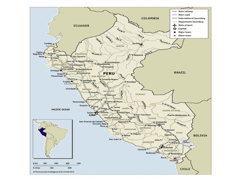 September 4th 2012 Peru Peru at a glance: 2012-16 OVERVIEW Having gained the support of the urban middle classes, the president, Ollanta Humala, will implement pragmatic and centrist policies.