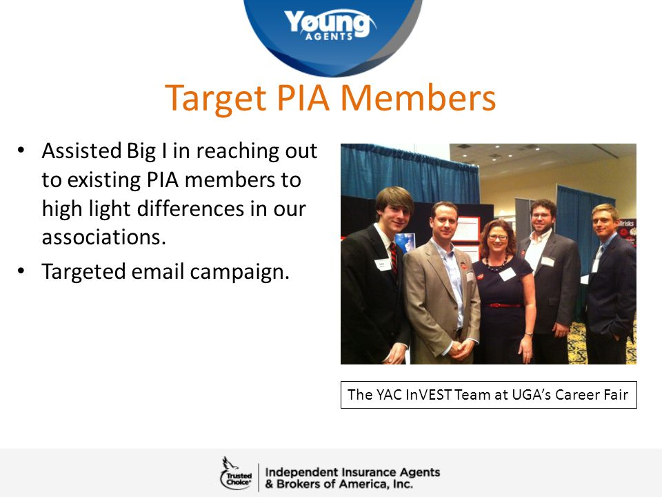 Target PIA Members Assisted Big I in reaching out to existing PIA members to high light differences in our associations. Targeted email campaign. The