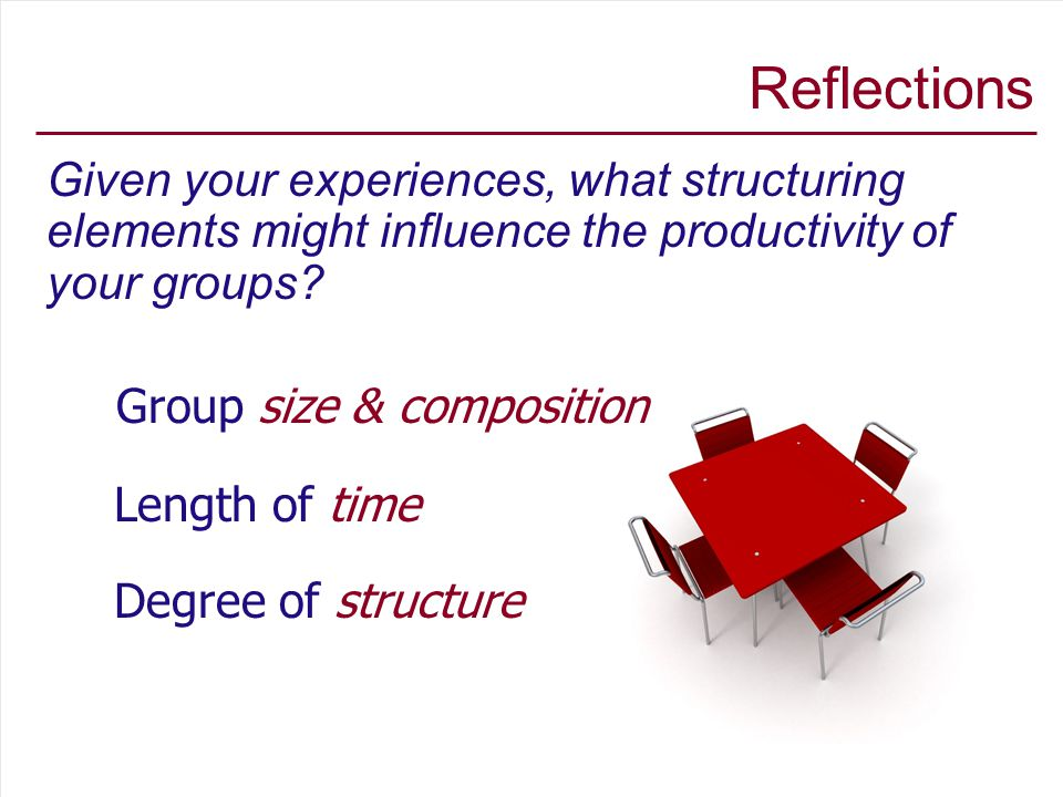 Reflections Given your experiences, what structuring elements might influence the productivity of your groups.