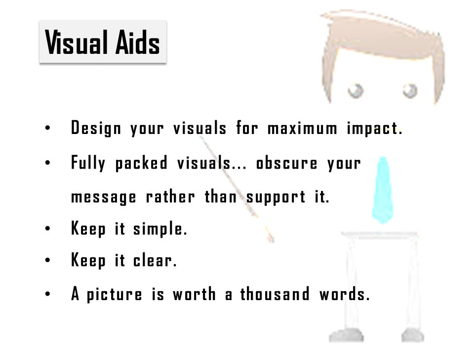 Visual Aids Design your visuals for maximum impact.