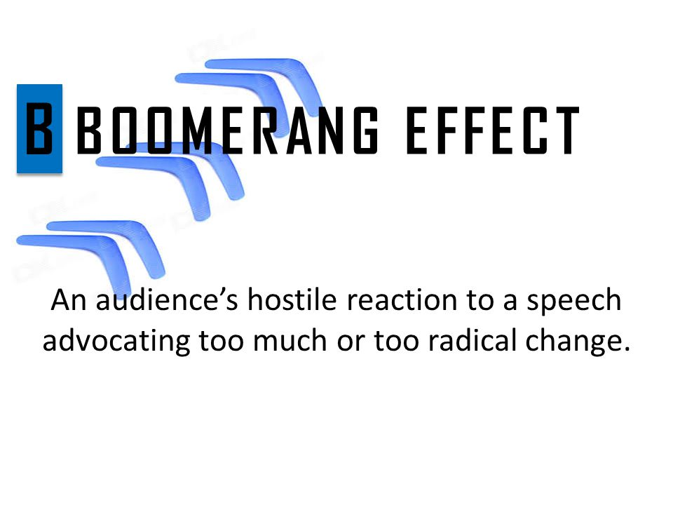 An audience's hostile reaction to a speech advocating too much or too radical change.