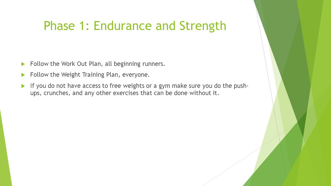 Phase 1: Endurance and Strength  Follow the Work Out Plan, all beginning runners.