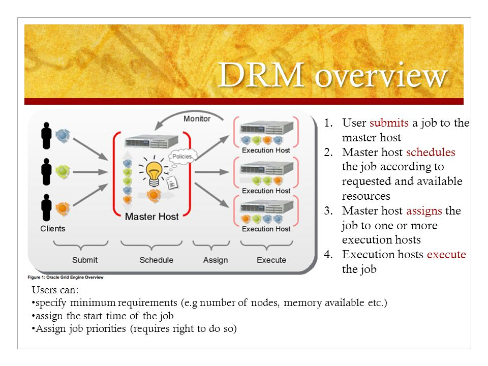 DRM overview Users can: specify minimum requirements (e.g number of nodes, memory available etc.) assign the start time of the job Assign job priorities (requires right to do so) 1.User submits a job to the master host 2.Master host schedules the job according to requested and available resources 3.Master host assigns the job to one or more execution hosts 4.Execution hosts execute the job