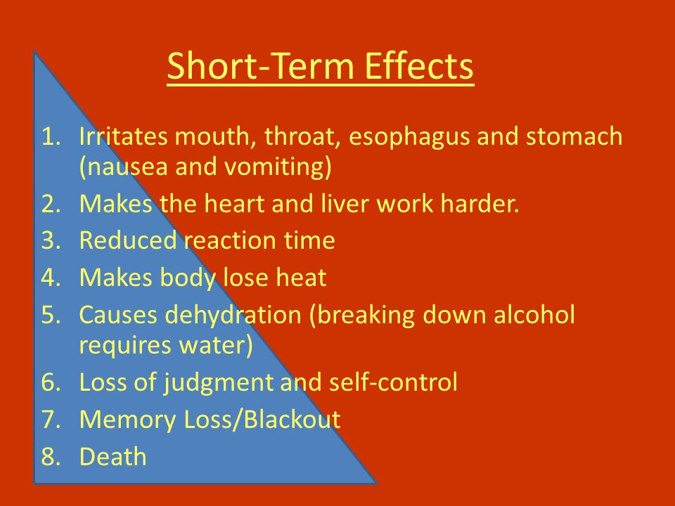 Short-Term Effects 1.Irritates mouth, throat, esophagus and stomach (nausea and vomiting) 2.Makes the heart and liver work harder.