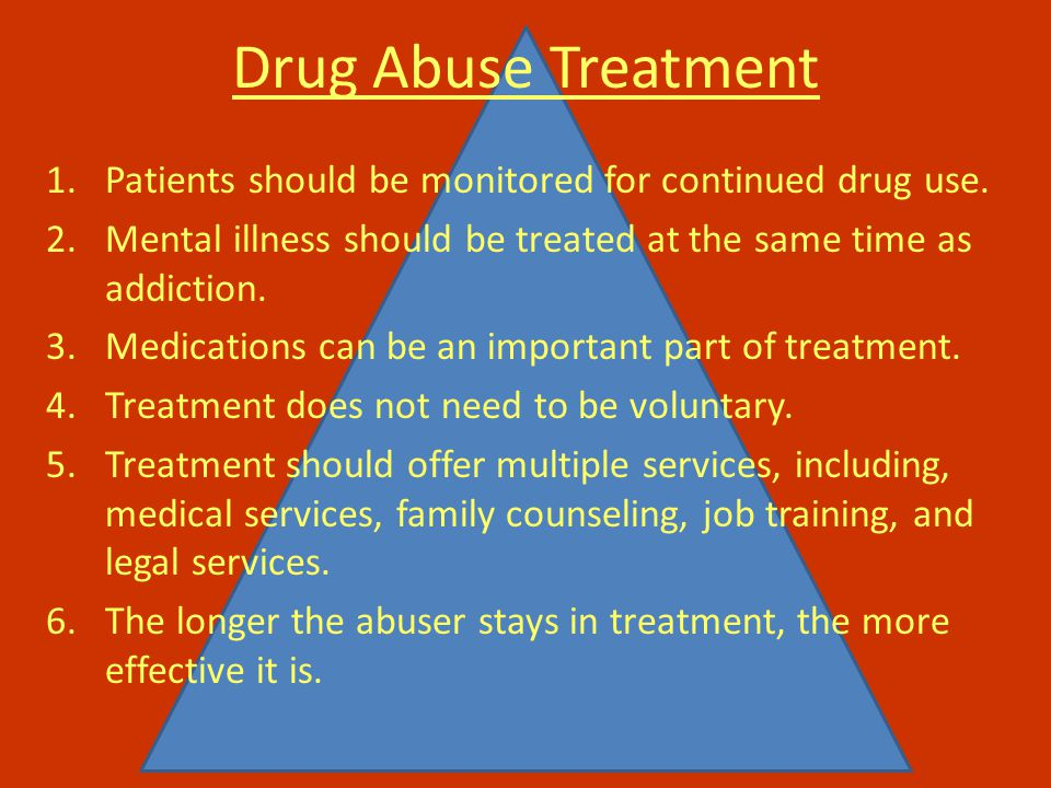 Drug Abuse Treatment 1.Patients should be monitored for continued drug use.