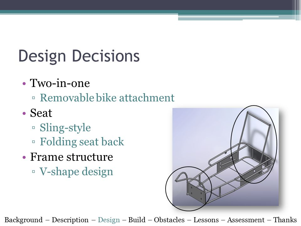 Design Decisions Two-in-one ▫Removable bike attachment Seat ▫Sling-style ▫Folding seat back Frame structure ▫V-shape design Background – Description – Design – Build – Obstacles – Lessons – Assessment – Thanks