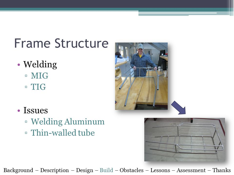 Frame Structure Welding ▫MIG ▫TIG Issues ▫Welding Aluminum ▫Thin-walled tube Background – Description – Design – Build – Obstacles – Lessons – Assessment – Thanks