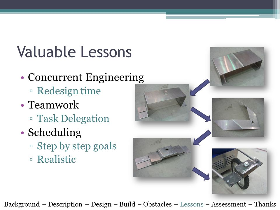 Valuable Lessons Concurrent Engineering ▫Redesign time Teamwork ▫Task Delegation Scheduling ▫Step by step goals ▫Realistic Background – Description –
