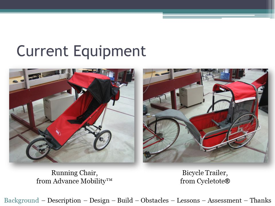 Current Equipment Running Chair, from Advance Mobility™ Bicycle Trailer, from Cycletote ® Background – Description – Design – Build – Obstacles – Less