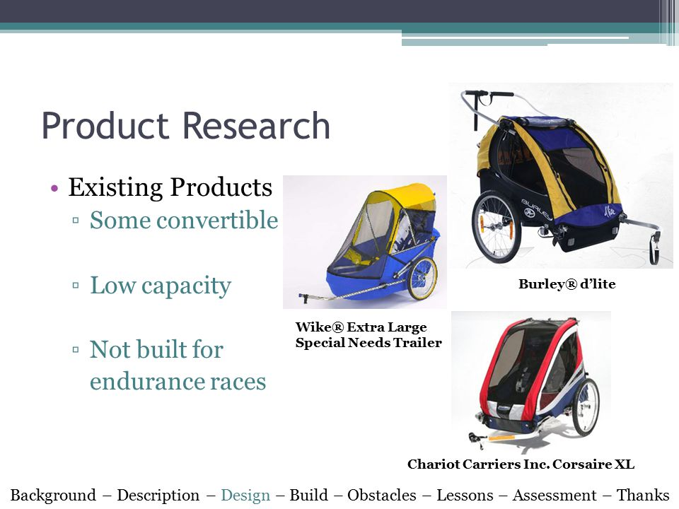 Product Research Background – Description – Design – Build – Obstacles – Lessons – Assessment – Thanks Wike® Extra Large Special Needs Trailer Burley® d'lite Chariot Carriers Inc.