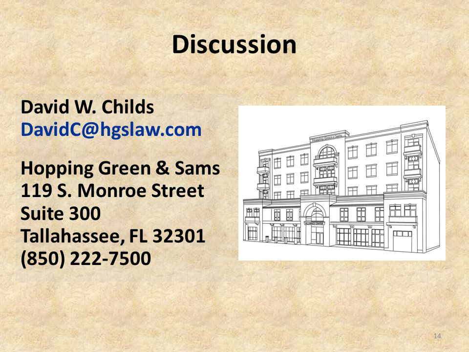 Discussion 14 David W. Childs DavidC@hgslaw.com Hopping Green & Sams 119 S. Monroe Street Suite 300 Tallahassee, FL 32301 (850) 222-7500