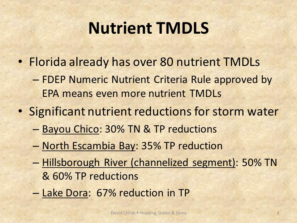 Nutrient TMDLS Florida already has over 80 nutrient TMDLs – FDEP Numeric Nutrient Criteria Rule approved by EPA means even more nutrient TMDLs Signifi