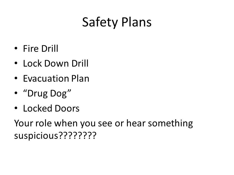Safety Plans Fire Drill Lock Down Drill Evacuation Plan Drug Dog Locked Doors Your role when you see or hear something suspicious
